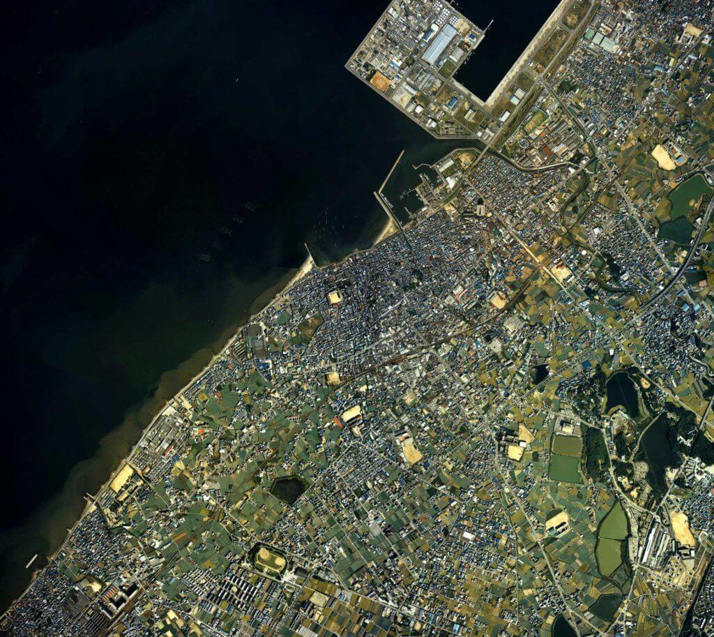 泉佐野市(大阪府)中心部周辺の空中写真